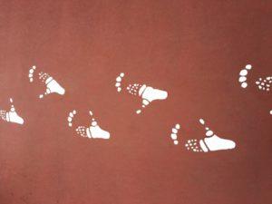 チンパンジー足跡